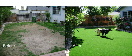 before and after artificial grass